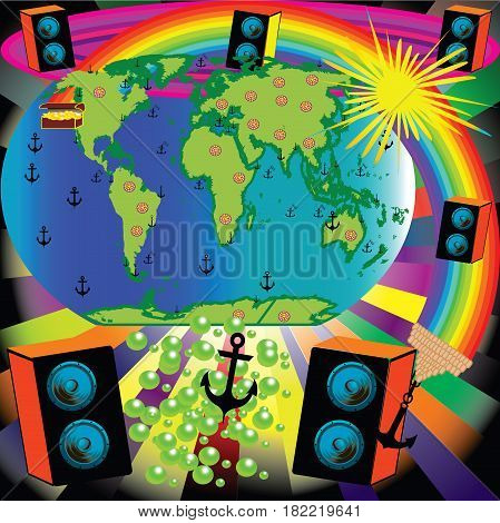 Abstract background with earth speakers Sun rainbow continents anchor treasure