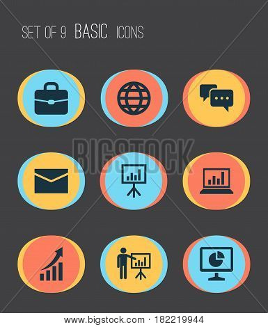 Trade Icons Set. Collection Of Chatting, Presenting Man, Diagram And Other Elements. Also Includes Symbols Such As Arrow, Business, Chatting.