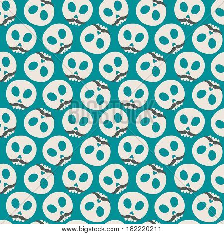 Skull with moustaches. Seamless pattern with flat design of skulls on the dark background. Vector illustration