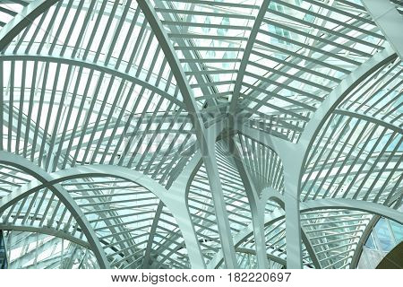 TORONTO, CANADA, APRIL 10, 2017:  Intertwining steel arches at Sam Pollock Square.  Brookfield Place is also the home of the Hockey Hall of Fame and offices.
