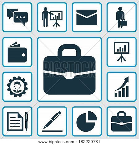 Trade Icons Set. Collection Of Presentation Board, Presenting Man, Suitcase And Other Elements. Also Includes Symbols Such As Graph, Contract, Conversation.