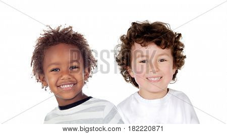 Funny couple of children isolated on a white background