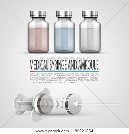 Medical syringe and ampoule, Objects on white background . Vector illustration