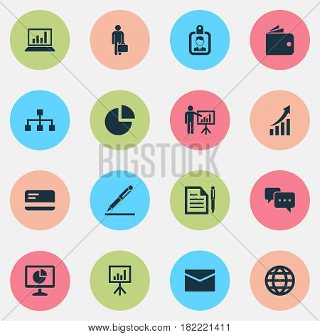 Business Icons Set. Collection Of Hierarchy, Envelope, Statistics And Other Elements. Also Includes Symbols Such As Structure, Screen, Circle.