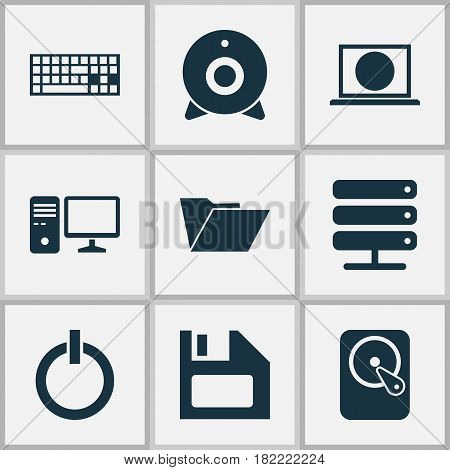 Computer Icons Set. Collection Of Dossier, Hdd, Diskette And Other Elements. Also Includes Symbols Such As Diskette, Web, Server.