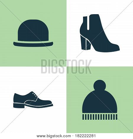 Garment Icons Set. Collection Of Panama, Beanie, Female Winter Shoes And Other Elements. Also Includes Symbols Such As Ski, Hat, Boots.