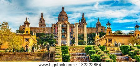 Barcelona, Catalonia, Spain in the spring: the Palau National, National Palace, National Art Museum of Catalonia