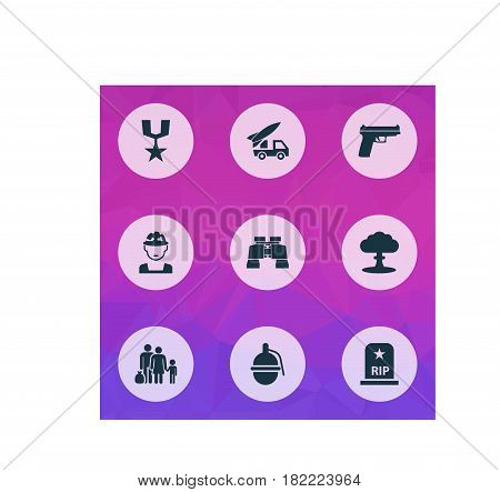 Army Icons Set. Collection Of Atom, Order, Ordnance And Other Elements. Also Includes Symbols Such As Gong, Atom, Military.