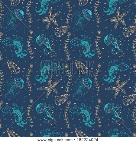 Vector abstract pattern background with marine creatures in indian mehndi style. Abstract henna floral vector illustration.