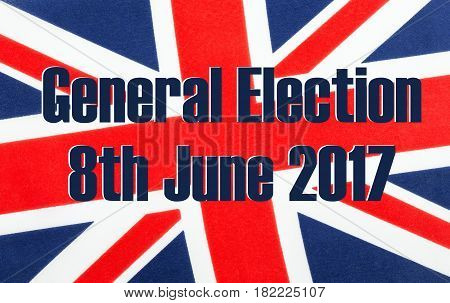 General Election 8th June 2017 written on a British Union jack flag.