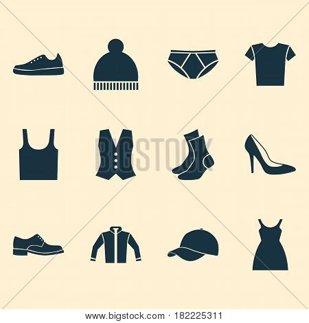 Clothes Icons Set. Collection Of Waistcoat, Trilby, Cardigan And Other Elements. Also Includes Symbols Such As Shoe, Cardigan, Socks.