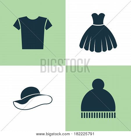 Dress Icons Set. Collection Of Elegant Headgear, Beanie, Casual And Other Elements. Also Includes Symbols Such As Pompom, Elegant, Sarafan.