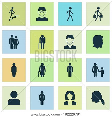 Person Icons Set. Collection Of Businesswoman, Ladder, Delivery Person And Other Elements. Also Includes Symbols Such As User, Gentlewoman, Child.