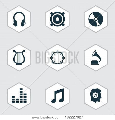 Music Icons Set. Collection Of Earphone, Megaphone, Lyre And Other Elements. Also Includes Symbols Such As Meloman, Percussion, Sound.