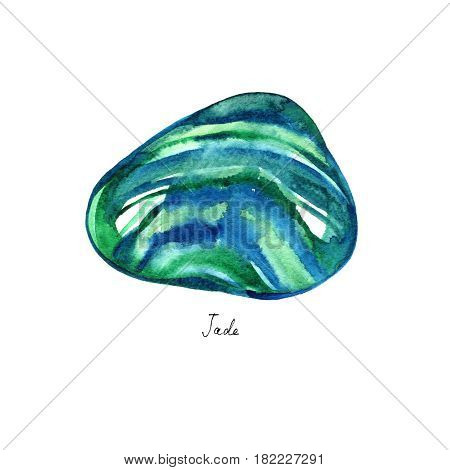 Watercolor jade turquoise and rauchtopaz stones isolated on white background. For design, prints or background