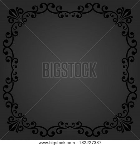 Classic square frame with arabesques and orient elements. Abstract fine ornament with place for text