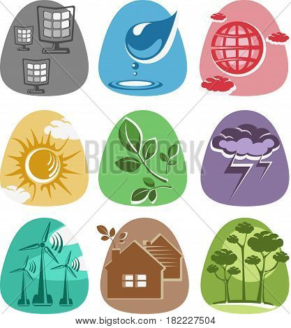 Set of icons of alternative and clean sources of energy sun, wind and water