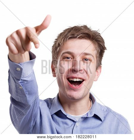 I choose you. Excited man pointing on camera with index finger, white isolated studio background, copy space