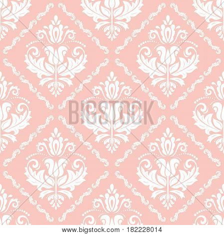 Seamless classic pink and white pattern. Traditional orient ornament