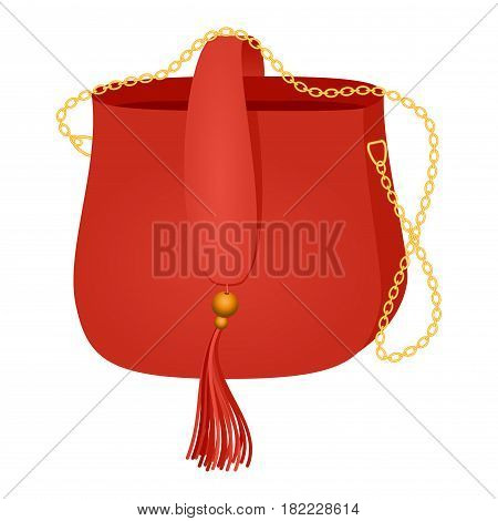 Fashionable handbag 2017 season fashion trends from the runways of designers pret-a-porte. Red color Fashion Female Bag Vector Illustration. Glamour Girls Like Shopping