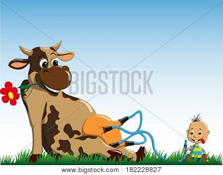 A small boy sits and drinks milk directly from the cow