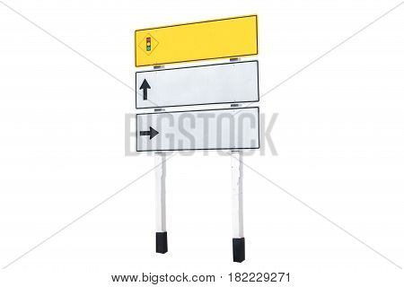 Traffic communication on the way sign with clipping path