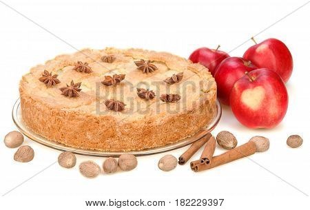 Apple pie with red apples cinnamon anise nutmeg. Isolated on white background. Red apple with heart.