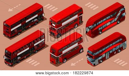 Red bus isolated double decker London UK England isometric vehicle icon set. 3D flat vector illustration
