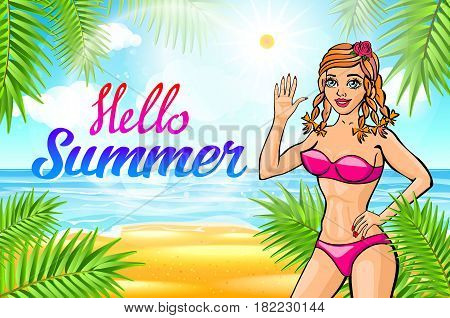 Vector Hello Summer Lettering And Woman On Of The Sea Beach And Takes Sunbath. Bikini Gir. Pinup Vin