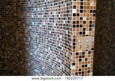 Modern digital steam bath with mosaic tiles