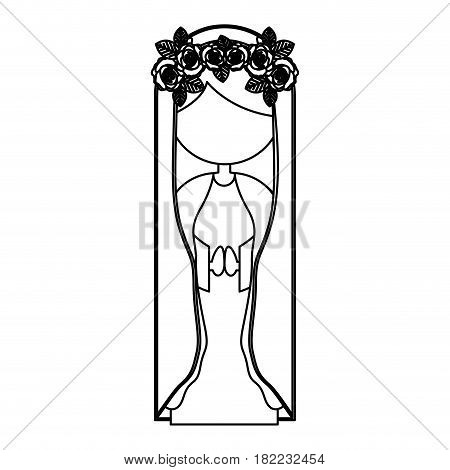 silhouette figure fasceless virgin maria cartoon with crown of roses in her head vector illustration