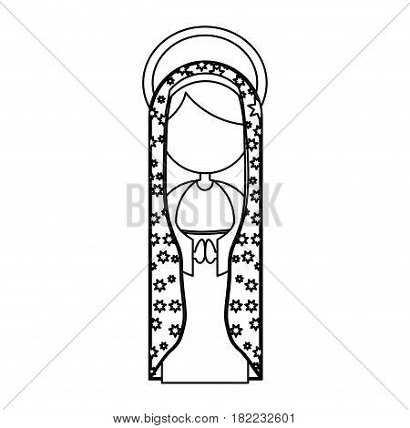 silhouette figure fasceless virgin maria cartoon with aureole and mantle decorate vector illustration