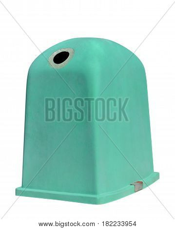image of green dumpster isolated on white background