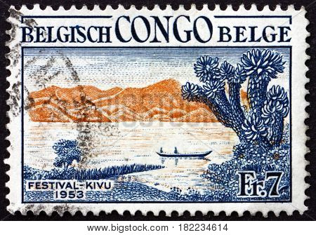 BELGIAN CONGO - CIRCA 1953: a stamp printed in Belgian Congo shows Canoe on Lake Kivu Kivu Festival circa 1953