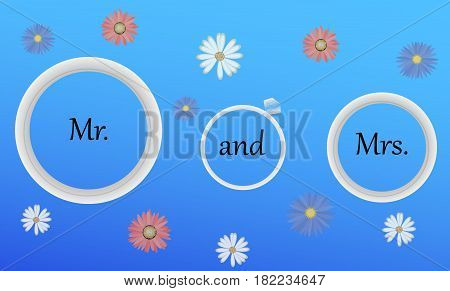 Mr and Mrs Wedding Rings .Sign Typographic Vector Design