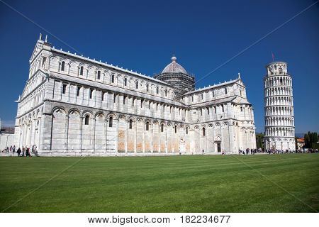 travel amazing Italy series -Duomo and Leaning Tower, Piazza dei Miracoli, Pisa, Tuscany, Italy