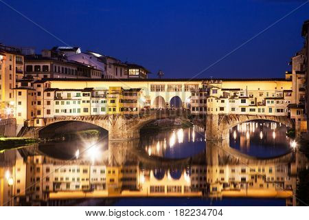 travel amazing Italy series - Ponte Vecchio and River Arno at Night, Florence, Tuscany poster