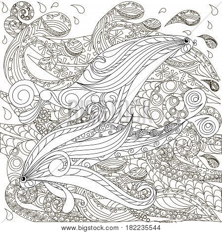 Hand drawn doodle fishes on waves, anti stress coloring page stock vector illustration