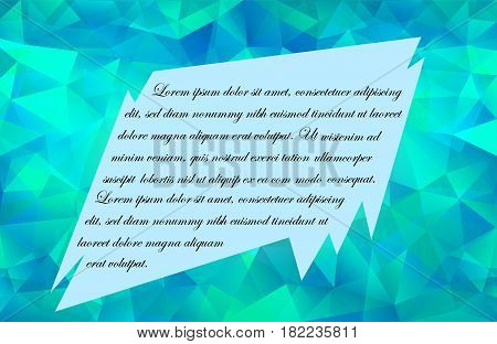 Blue-Green  Poligonal Background with Spiky Framed Place for Text. Vector EPS 10