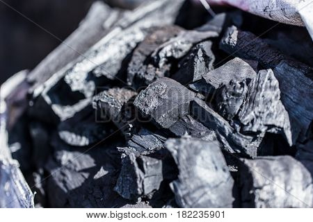 black charcoal from wood dark clean new energy