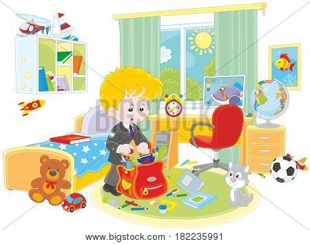 Schoolboy completing a schoolbag in his room