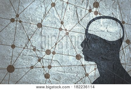 Silhouette of a man's head. Mental health relative brochure, report or flyer design template. Scientific medical designs. Connected lines with dots. Grunge concrete texture