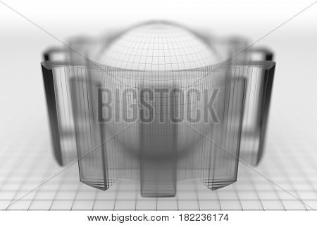 Gear wheel isometric model. Background industrial design. Conceptual wire-frame illustration. 3D rendering. Grey sphere in the cog wheel. Shallow depth of field.
