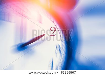 Clock Time With Zoom Motion Blur Focus At 2 O'clock, Fast Speed Business Hour Concept.