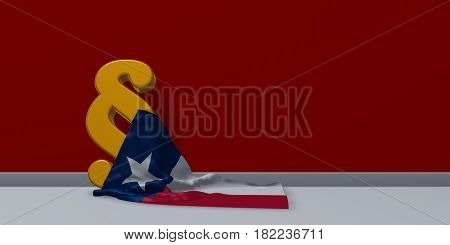 texas flag and paragraph symbol - 3d illustration