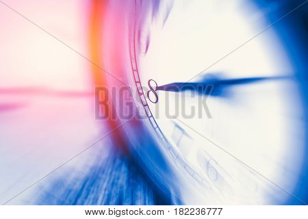 Clock Time With Zoom Motion Blur Focus At 8 O'clock, Fast Speed Business Hour Concept.