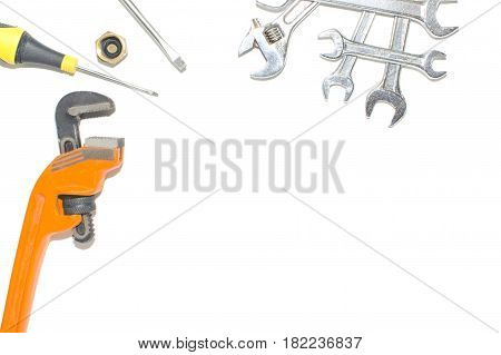 Adjustable wrench on a white background. Foto