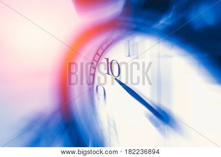 Clock Time With Zoom Motion Blur Focus At 10 O'clock, Fast Speed Business Hour Concept.