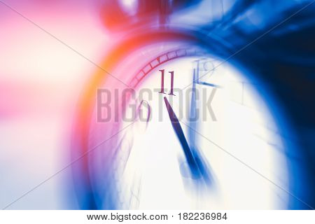 Clock Time With Zoom Motion Blur Focus At 11 O'clock, Fast Speed Business Hour Concept.