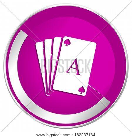 Card web design violet silver metallic border internet icon.